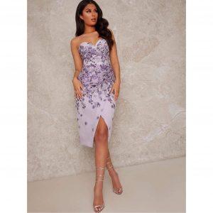 Lilac floral Jacquard Bodycon Dress