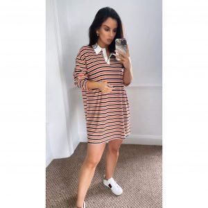 Orange and Navy Stripe Jersey Shirt Dress