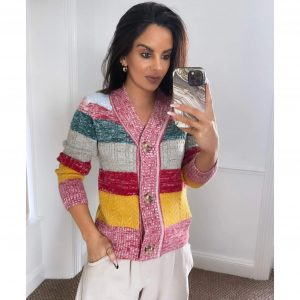 Multi Colour Stripe Knit Cardigan