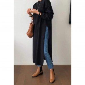 Midi Knit Jumper Dress with Side Slits