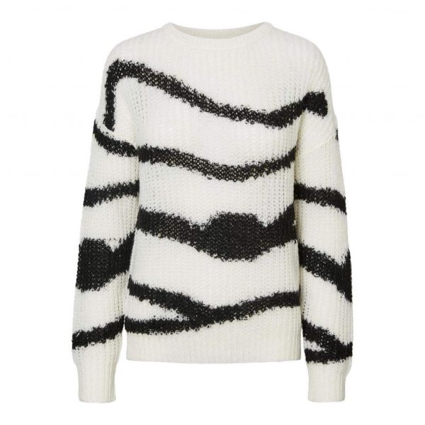 White and Black Abstract Print Knit Jumper