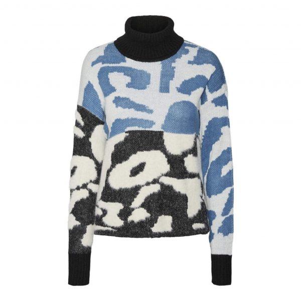 Blue Mix Leopard Knit Sweater