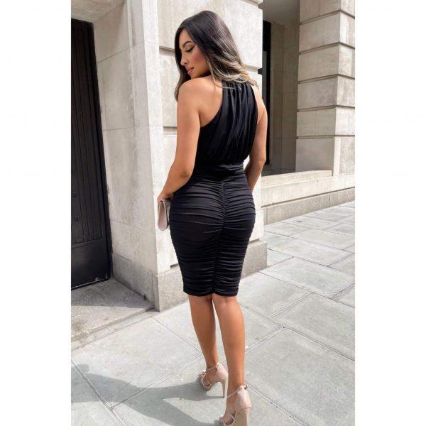 Black Ruched Halter Neck Dress