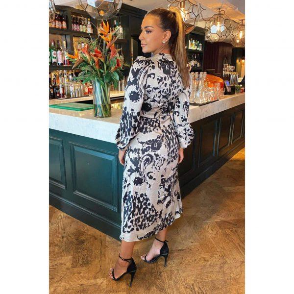 Grey Satin Print Midi Dress