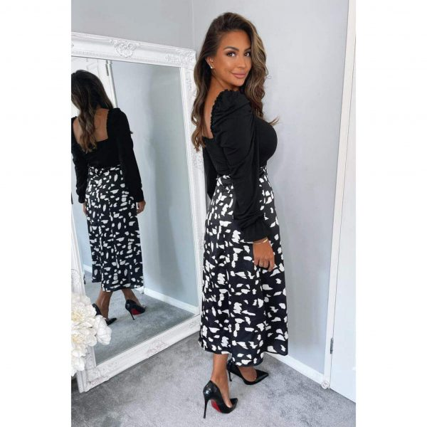 Black and White Print 2 in 1 Dress