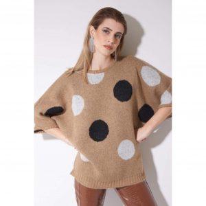 Beige polka dot knit short sleeve sweater