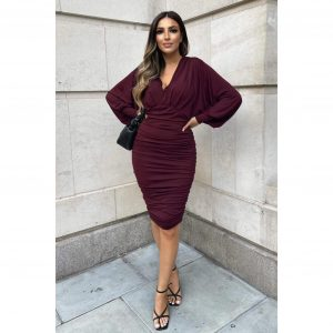Plum Ruched Batwing Dress