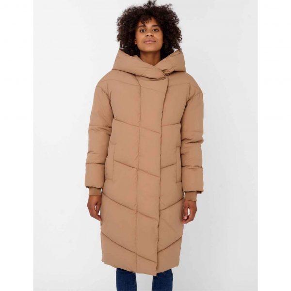 Noisy May Tally Puffa Coat in Tigers Eye Oversized Hood