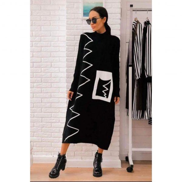 Black Knit Abstract Print Midi Dress