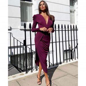 Plum Long Sleeve Midi Dress with Side Slits