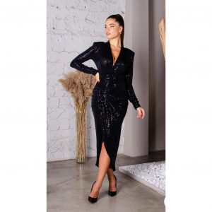 Black Sequin Long Sleeve Midi Dress with Front Slits